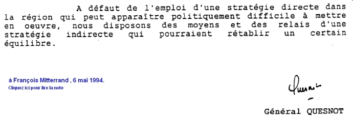 Note du génral Quesnot, 6 mai 1994
